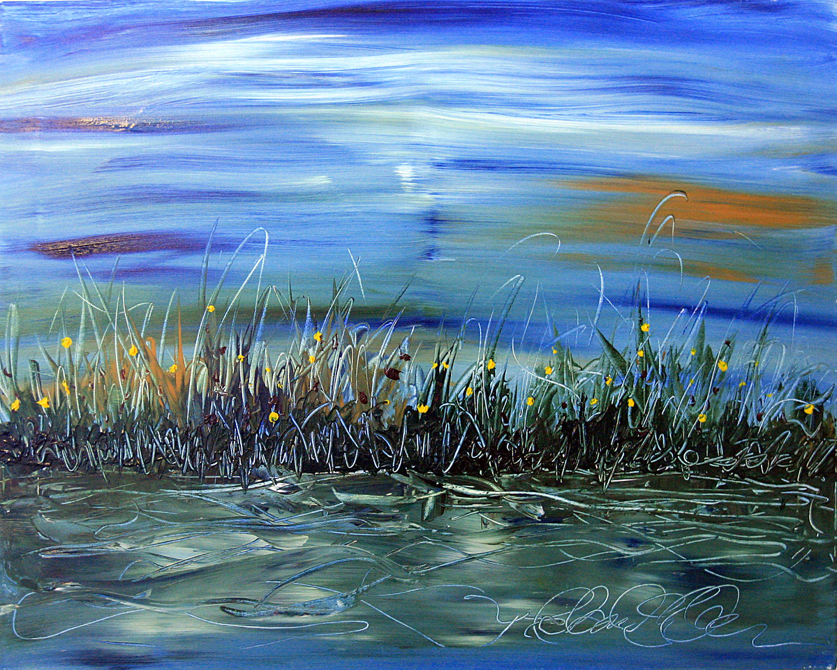 "Moonlight Reflections<br /> Acrylic on Canvas<br /> 24"" x 30""<br /> Artist Signature Lower Right<br /> SOLD"