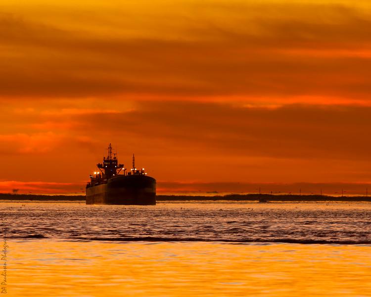 Ship at Dawn, Texas City Dike