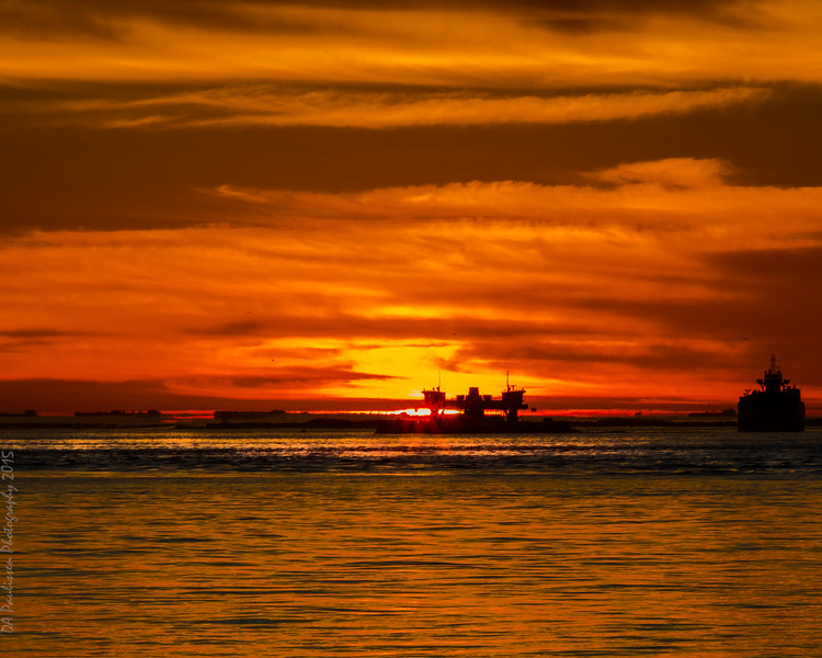 The Ferry Ablaze with Sunrise - Texas City Dike