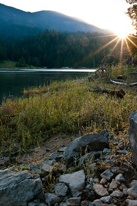 Sun Breaking Through on the Reservoir - Dworshak Reservoir, Idaho