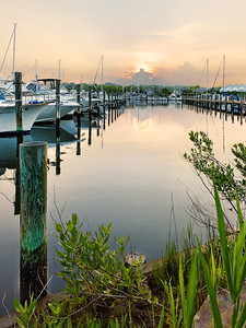 A sunset over a marina on the Chesapeake Bay.