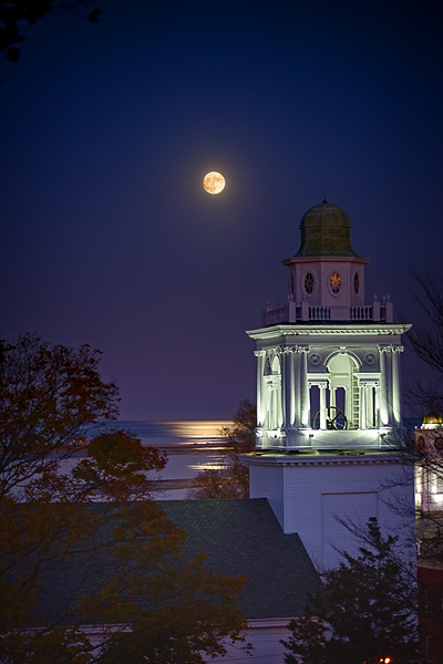 Moonrise over the Church of the Pilgrimage, Plymouth, MA