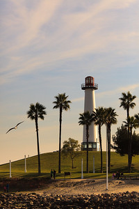 A sunset view of the Lighthouse in Long Beach, California.