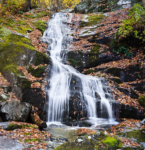 A view of the falls at Crabtree Falls...during Fall.