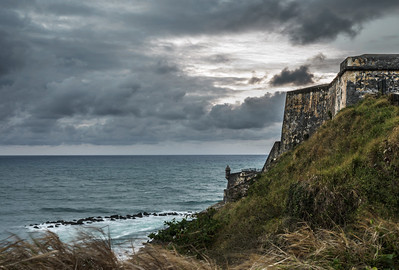 Dark clouds approach the fort in San Juan.