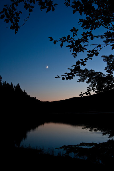 Twilight Moon over the Reservoir - Dworshak Reservoir, Idaho
