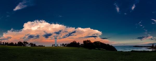 Yamba Lighthouse at Wooli Park - Panorama Storm Cloud at Sunset sRGB