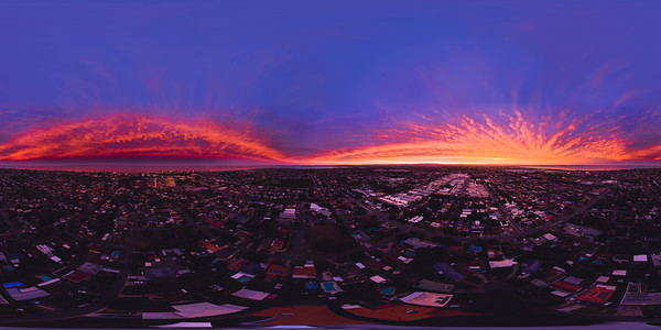 360 Spherical Sunset Drone Panorama