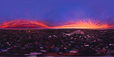 360 Spherical Sunset Drone Panorama