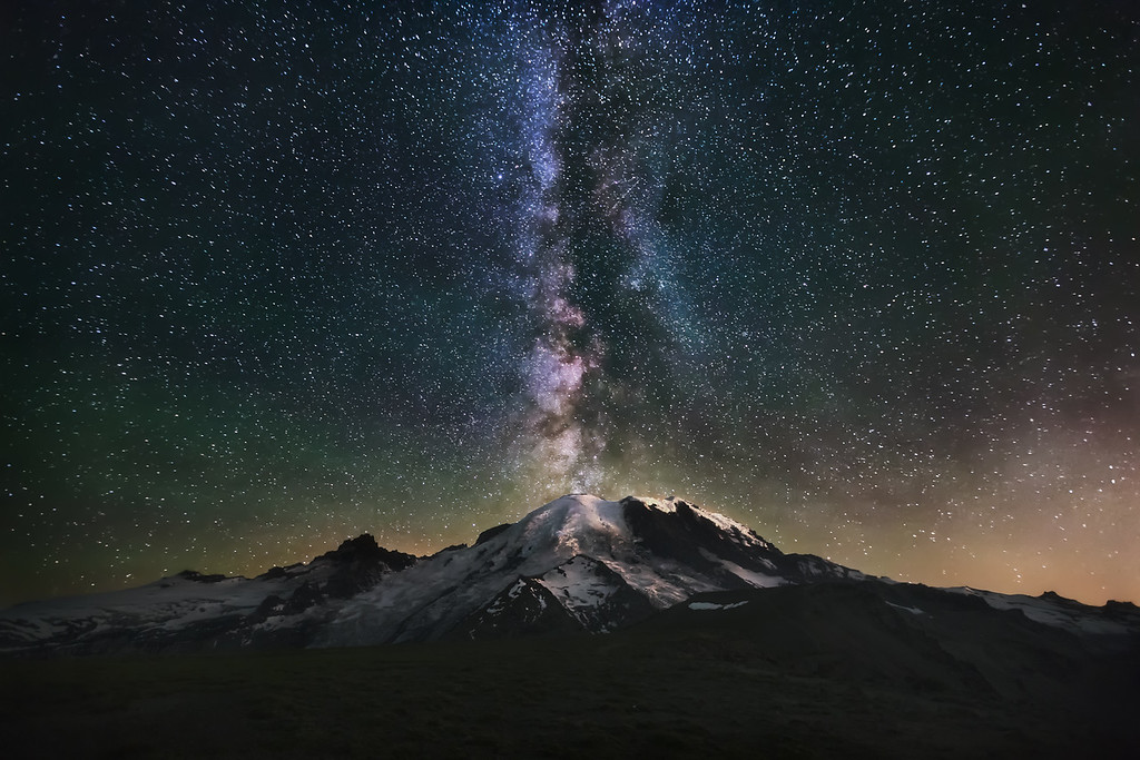 Photo of milky way galaxy, stars, night sky at Mount Rainier National Park, Washington state