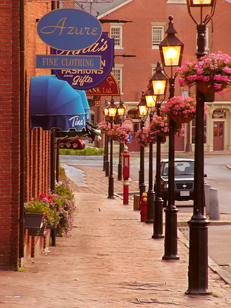 Storefronts of Restored Brick Buildings, Downtown Newburyport MA