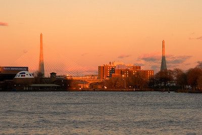 Zakim Bridge in Boston, Massachusetts, on the Charles River