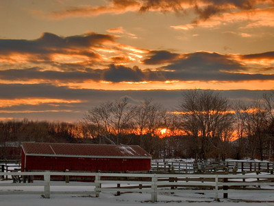 Horse farm and corrals at sunset in Newburyport, Massachusetts