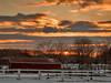 Horse farm and corrals at sunset in Newburyport, Massachusetts