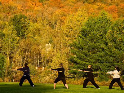 Tae Kwon Do Training, outdoors in the colorful  autumn background in Waterville Valley, New Hampshire