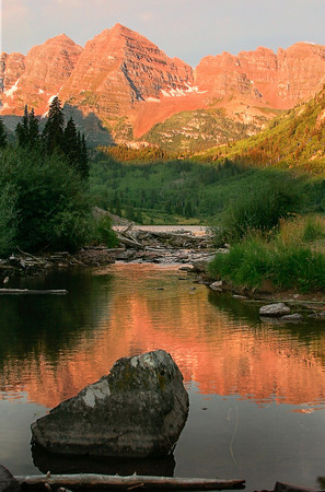 Maroon Bells outside Aspen Colorado at sunrise.