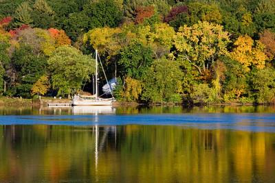 A sailboat on the Merrimack River in Merrimac, Massachusetts