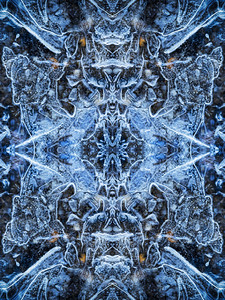 A unique mandala inspired nature photograph of ice.
