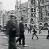 """<div class=""""boxTop""""><h3 id=""""galleryTitle"""" class=""""title notopmargin"""">Marienplatz, Munich, September 2010</h3> Black & White Kodak Ektar 120 (ISO 100).  I used a slow shutter speed here to capture the energy of the Marienplatz. I had to brace the camera against a windowsill, so I couldn't even see what I was shooting at. But I loved the result."""