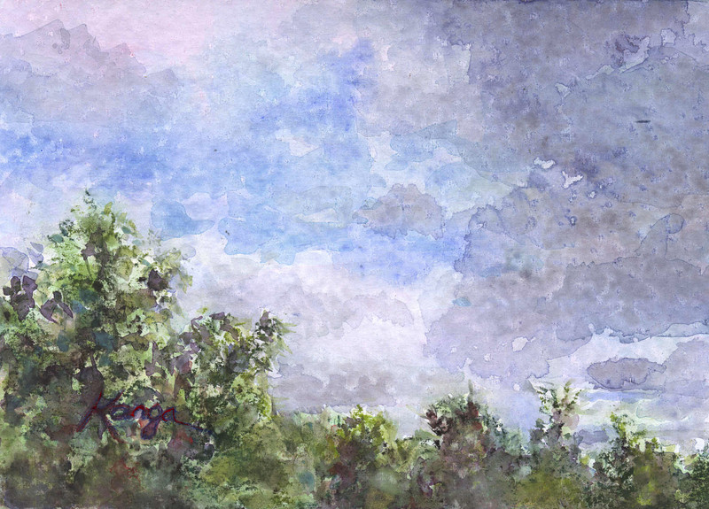 """""""Afternoon Clouds""""<br /> <br /> watercolor and soft pastel on prepared board, 5"""" x 7"""""""