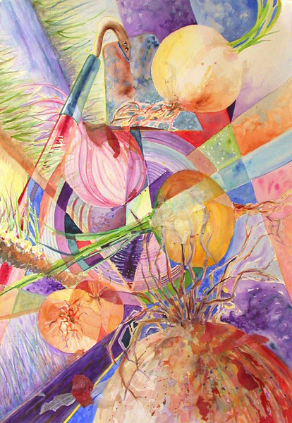 """""""Onion Dreaming""""<br /> watercolor and onion skin on 300# Arches cold press.  22"""" x 30"""" <br /> <br /> <br /> SOLD ($1250)"""