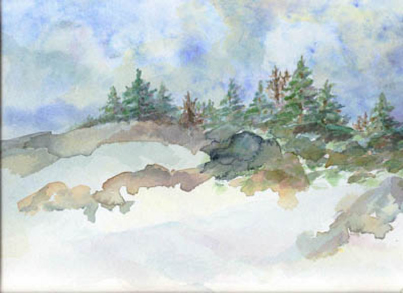 """Winter Pines""<br /> <br /> watercolor on 140# cold press 8"" x 10"""