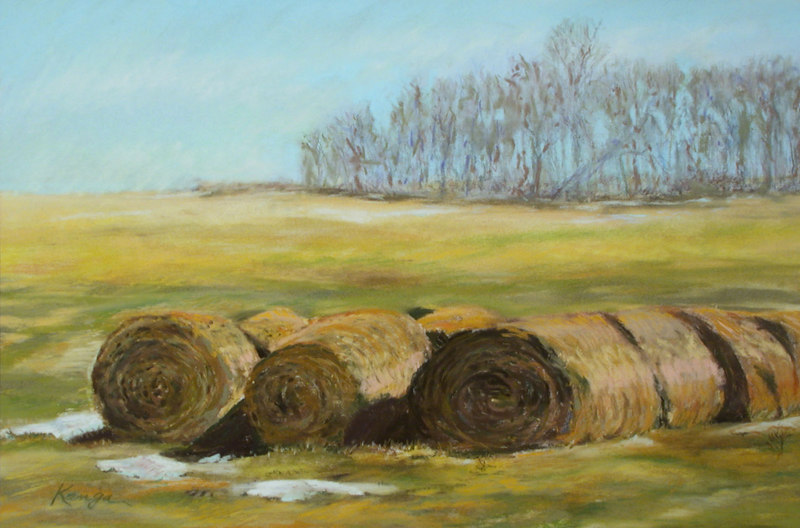 """Uncle Charlie's Hay""  soft pastel on Kitty Wallis sanded ground"