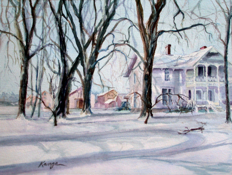 """Elms at Grampie's"" - watercolor on 300# Arches cold press.<br /> <br /> During my childhood in upstate New York, we lived next to my grandfather's Victorian farmhouse with stately elms.<br /> <br /> [not for sale]"
