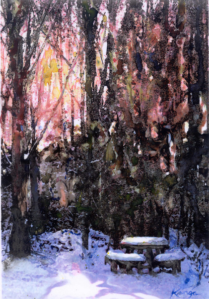 """Grace in Winter""<br /> watermedia on translucent Yupo (synthetic sheet), 9"" x 12"""