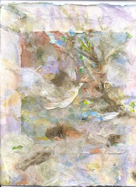"""Bill's Dream""<br /> watercolor and collage on 300# Arches cold press<br /> 12"" x 18"""