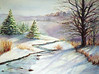"""Winter Rhythms""<br /> watercolor and soft pastel on 300# Arches rough<br /> image 22"" x 30"""