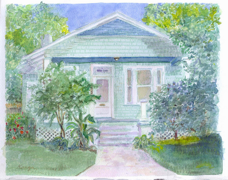 """""""Jeff's House"""" - watercolor on 140# Arches. (sold)<br /> similar commissions welcome<br /> <br /> Jeff commissioned this painting so he could take it with him overseas as a reminder of home. We collaborated through e-mailed photos and conversation."""
