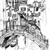 Ahh, Venice. One of my favorite cities... I was so charmed by the smaller canals off of the main tourist areas. I sat on one of the bridges for this one, and spent about an hour and a half for my first drawing (I used a Micron pen, probably .05 nib).