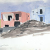 We scurried out of Athens (too big, too dirty for us, and our only encounter with pick-pockets) and visited two islands, Ios and Santorini. This watercolor is from Mylopotas Beach on Ios.