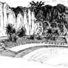 The promenade in Nice, and one of my least favorite drawings from the sketchbook. I guess my favorite part is the water fountains on the left... but I should have stuck to a more architectural drawing.