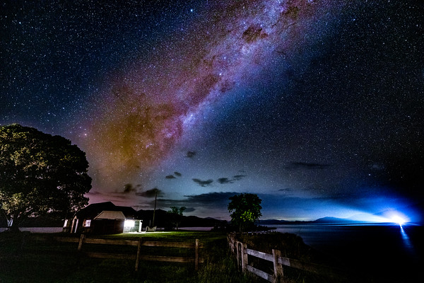 Somesed Dam Milky Way Night Sky and a House on the Hill