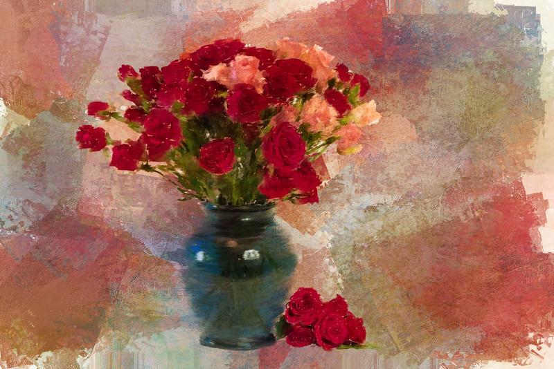 Mini Roses Painted Landscape Antique rose