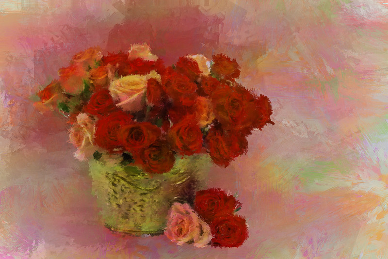 Orange red Roses Brass VASE 3