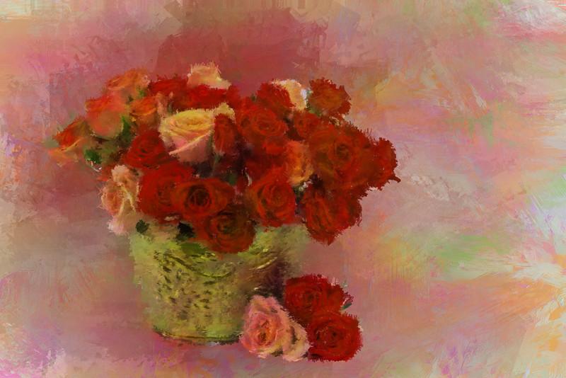 Orange red Roses Brass VASE 3