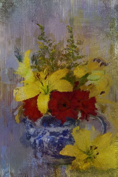 FLOWERS IN TEAPOT ON MARBLE 4