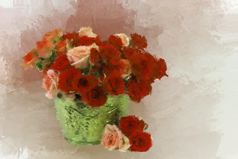 Orange red Roses Brass VASE6-2