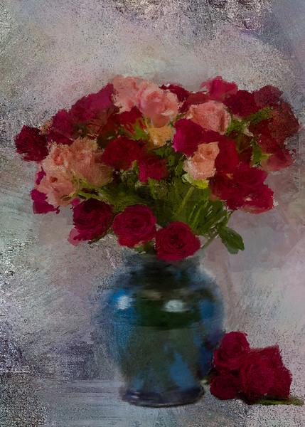 Rose buds Antique Rose Concrete Canvas