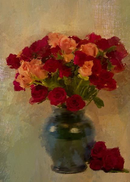 Rose buds Painted Dark Naples Yellow 2