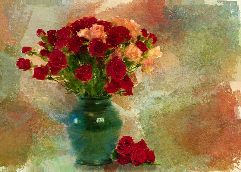 Mini Roses Painted Landscape Antique rose3
