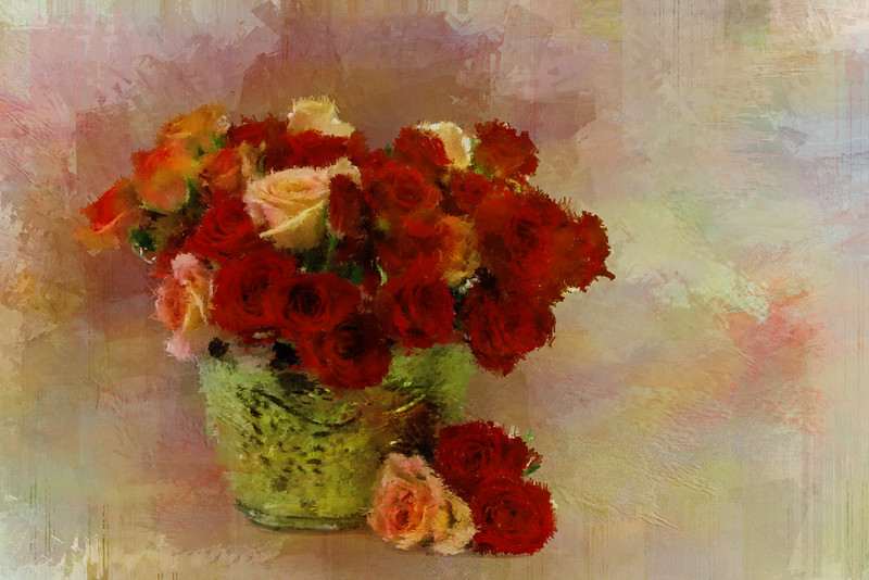 Orange red Roses Brass VASE 2