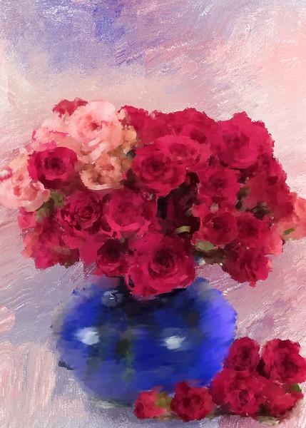 Final Fat Blue vase Roses