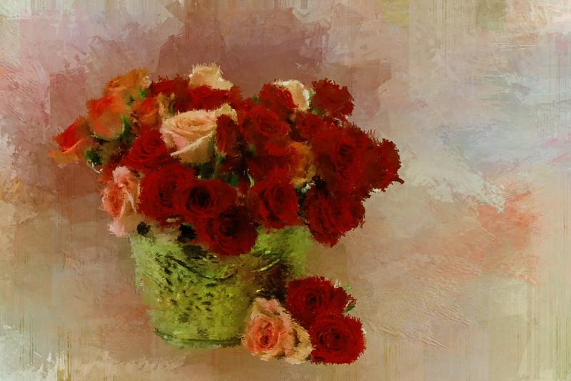 Orange red Roses Brass VASE