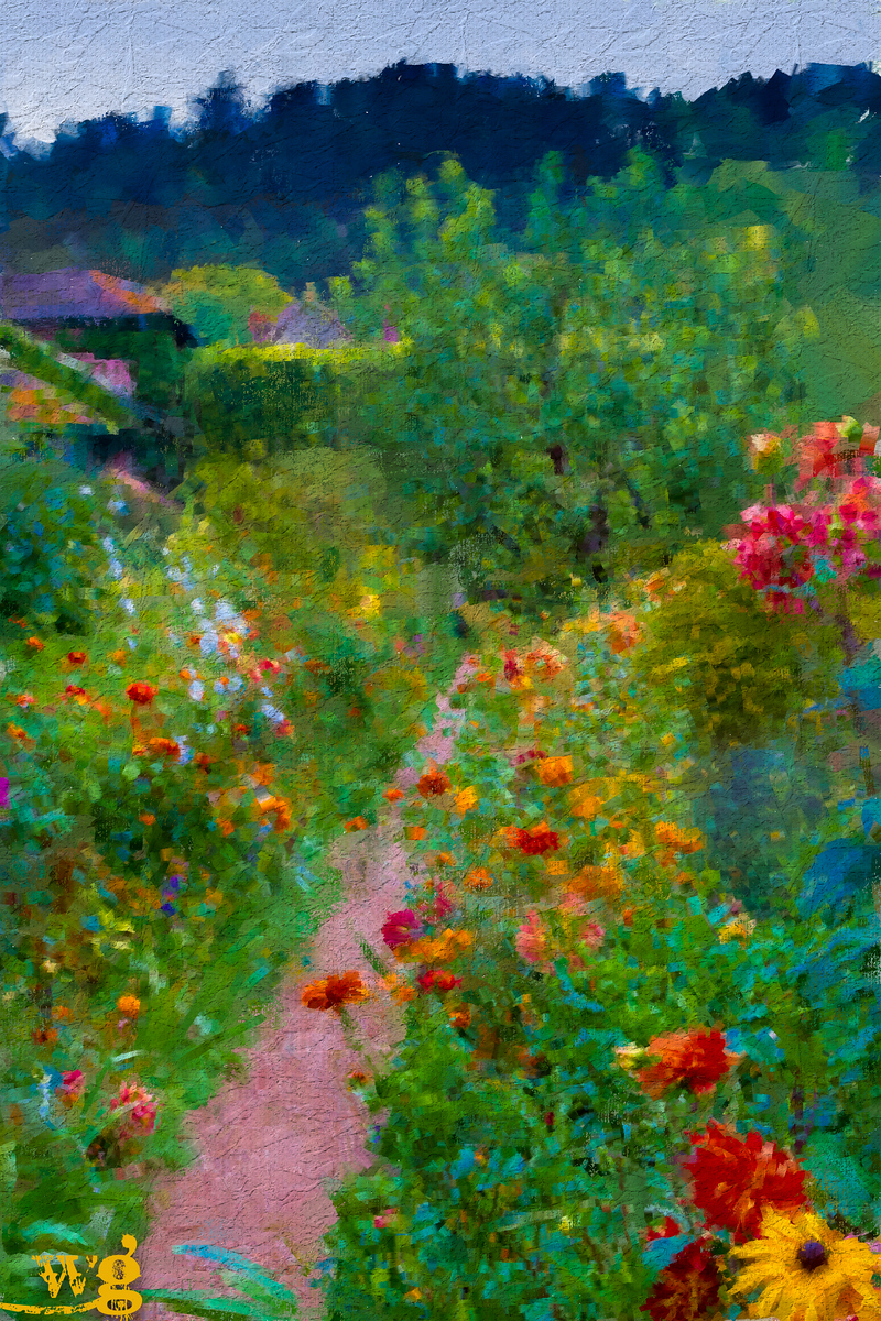 Monet's Orange and Blue Garden