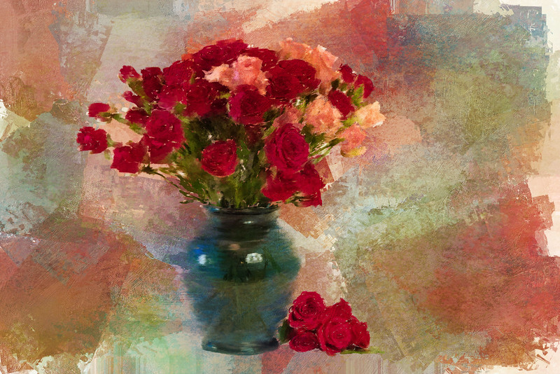 Mini Roses Painted Landscape Antique rose4