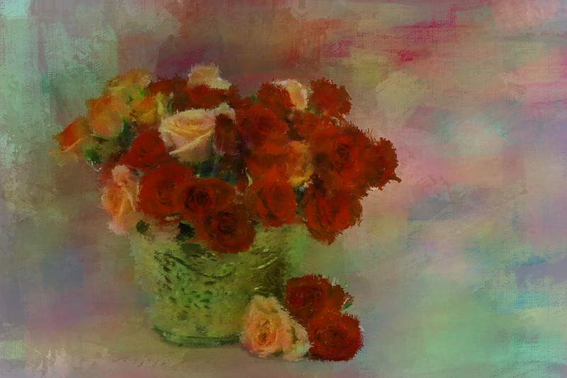 Orange red Roses Brass VASE 5